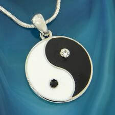 "Yin Yang w Swarovski Crystal Black White Enamel 18"" Chain Pendant Necklace Gift"