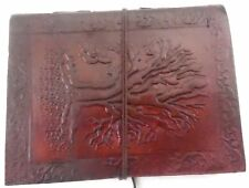 Tree Embossed Handmade Leather Journal Notepad Notebook Blank Paper Diary D6