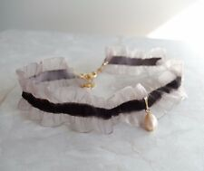 Fresh water pearl charm lace choker scallop lace velvet handmade choker brown