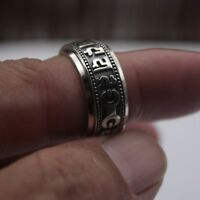 Fine Pure Sterling 925 Silver Ring Man's Rotatable Six Word Maxim Lucky Ring