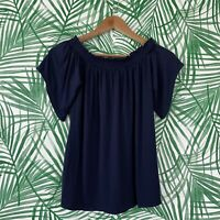 Lilly Pulitzer Navy Blue Almeria Off The Shoulder Top Women's Size Small