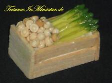 #C#,Holzkiste mit Pilzen + Spargel,Miniatur 1:12 f.d. Puppenstube/Puppenhaus