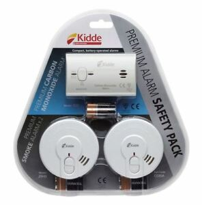 Kidde CO3SA Premium Alarm Safety Pack - 1 Carbon Monoxide & 2 x Smoke Alarms
