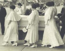 VINTAGE PHOTO: WOMEN PALLBEARERS in WHITE w CASKET Funeral MOURNERS Post Mortem