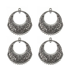 5X Antique Silver Round Charm Pendant Floral Designs DIY Jewelry Gift Earrings