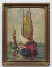 MAE HILL GILBERT OIL PAINTING ~LISTED CALIFORNIA ARTIST~1867-1945~ FISHING BOATS