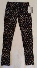NWT Lily Rose Black / Gold Leggings Legging Pants Womens XS