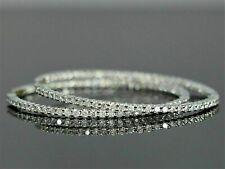 2.30Ct Inside-Out Diamond Hoop Dangle Earrings Solid 14k White Gold FN