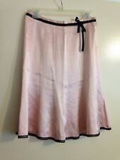 Express Skirt 100% Silk Pink With Black Lace Trim and Ribbon Size 2