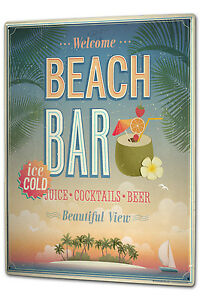 Tin Sign XXL Alcohol Retro Beach bar Kitchen metal plate plaque