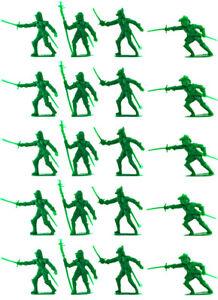 Cherilea Recasts - 20 English Civil War Figures - unpainted 60mm green plastic