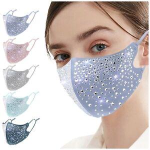 Women's Crystal Glitter Rhinestone Sparkles Bling Reusable Face Mask Covering