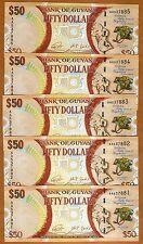 LOT Guyana, 5 x 50 dollars, 2016, P-New, AA-Prefix UNC > Commemorative