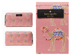 Kate Spade Spice Things Up Pink Camel Party March Leather Wallet NEW Tags Cute