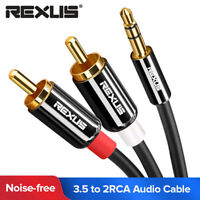 Aux Cord 3.5mm to 2 RCA Male to Male Audio Cable For Amplifier Mixer Subwoofer