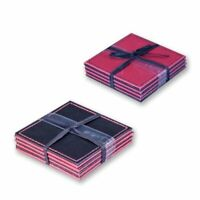 4 x Square Red & Black Leather Effect Reversible Drinks Coasters Coffee Table De