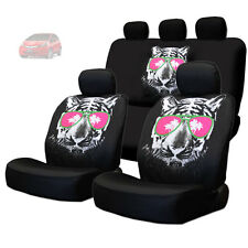 NEW BLACK FABRIC TIGER FACE LOGO FRONT AND REAR CAR SEAT COVERS SET FOR HONDA
