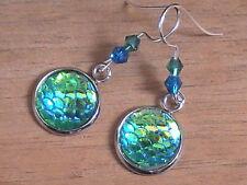 mermaid ATLANTIS earrings green BLESSED FISH scales nautical beach summer shiny