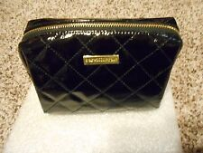 bareMinerals BLACK Quilted Patent Carry-All Cosmetic Key Zip Bag New