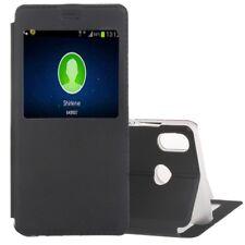 Cover custodia finta pelle nero finestra interattiva per Huawei P20 Lite HWE-177