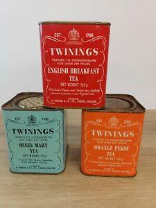 Three vintage Twinings Tea Tins