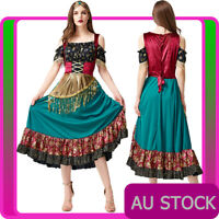 Womens Gypsy Girl Fortune Teller Costume Ladies Mystic Fancy Dress Plus Size