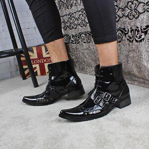 Men Gothic Ankle Boots Buckle Strap Low Heel Rivet Pointed Toe Punk Oxfords Shoe