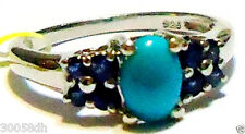 SLEEPING BEAUTY TURQUOISE OVAL & BLUE SAPPHIRE RING, SILVER, SIZE 7, 1.05(TCW)