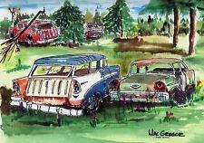 CHEVY NOMAD ART PRINT 1955 1956 1957 Junkyard Hot Rod Street Muscle Car Belair