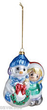 Precious Moments Christmas Blown Glass Tree Ornament ~ Girl with Snowman