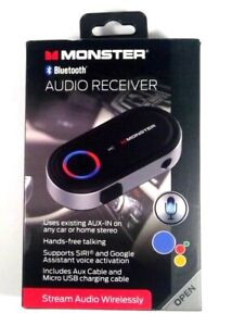Monster Bluetooth Audio Receiver w/ Google & Siri Virtual Assistant BT 4.2 - NEW