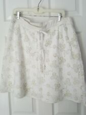 NWOT STUDIO M  SIZE XL White Textured A-Line Skirt Lined Cotton Drawstring,