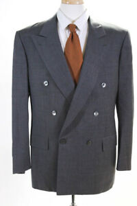 Brioni Mens Long Sleeve Double Button Notched Lapel Blazer Gray Wool Size 42