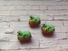job lot glass frog on a log bracelet beads / charms