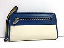 Marc by Marc Jacobs Continental Zipper Leather Wristlet/Wallet (Bluestone Multi)