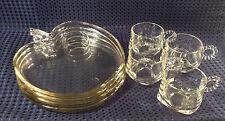 Vintage Hazel Atlas Clear Glass Apple Shaped Snack Set 4 cups &  4 Plates