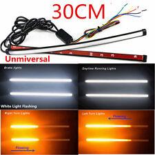 Pair Car DRL LED Light Strip Tube Sequential Turn Signal Brake Flash Light 30cm