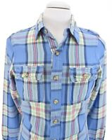 Abercrombie & Fitch Muscle Mens Blue Flannel Button Front Shirt Blue Sz S