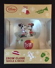DISNEY Store 2016 SNOWGLOBE MICKEY and MINNIE MOUSE Holiday SNOW Globe NEW