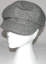 Ladies Flat Cap Wool Mix Hat One Size Black /White  6 Panel Ultra Trendy A003.37