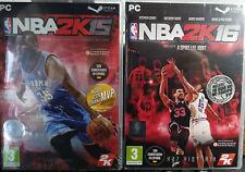 PACK JUEGOS PC NBA 2K15 2K16 (CAJA CON CÓDIGOS DESCARGA STEAM;NO INCLUYE DISCO).