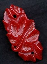 Finely carved deep red large size bakelite (tested) Leaves brooch 3.5 inches