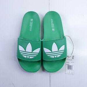 Size 9 Men's adidas Adilette Lite Slide Sandals FX5909 Vivid Green/White