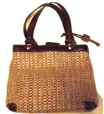 FOSSIL WOVEN SATCHEL Handbag Bag Purse BROWN CANVAS Leather TRIM SMALL