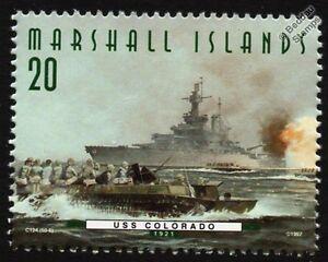 USS COLORADO (BB-45) Battleship Warship & Landing Craft Stamp (1997)