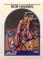 Bob Hansen 1989 Hoops Hand Signed Card Utah Jazz