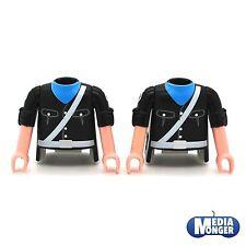 Playmobil ® 2 x torso con brazos negro | cinturón blanco | garde | soldado ww2