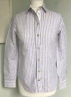 KATE SPADE BROOME STREET White Blue Stripe Shirt Blouse Sz XS 6-8 Cotton Linen