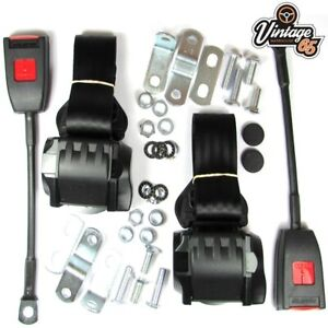Classic Mini Front Pair Fully Automatic Inertia Black Seat Belt Kits E Approved