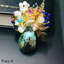 Party/wedding natural turquoise natural crystal/freshwater brooch pin fashion